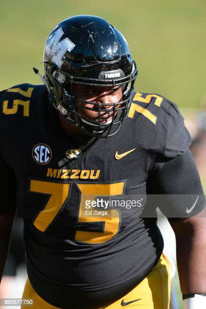 Tre'Vour Simms of the Missouri Tigers warms up prior to a game against the Idaho Vandals in the fourth quarter at Memorial Stadium on October 21 2017...