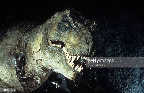 A trex in a scene from the film 'Jurassic Park' 1993