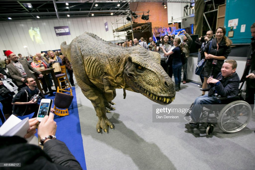 A T-Rex roams free around the hall floor of the 'Doctor Who 50th Celebration' event in the ExCeL centre on November 22, 2013 in London, England. The sold-out three day event in the ExCeL London convention centre celebrates 50 years of the show which has seen 11 actors play the role of Doctor Who and receives a worldwide cult following. Tom Baker played the role of the 'Doctor' from 1975 to 1981.