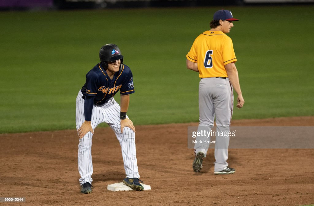 Trey Amburgey #14 doubled to tie the game in the ninth inning to tie the game during the 2018 Eastern League All Star Game at Arm & Hammer Park on July 11, 2018 in Trenton, New Jersey.