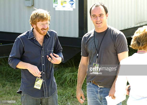 Trey Anastasio and Dave Matthews during Bonnaroo 2004 Day 1 Backstage at Centeroo Performance Fields and Festival Village in Manchester Tennessee...