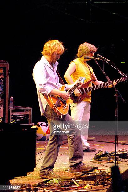 Trey Anastasio and Mike Gordon during Phish IT Festival Day 2 at Loring Airforce Base in Limestone Maine United States