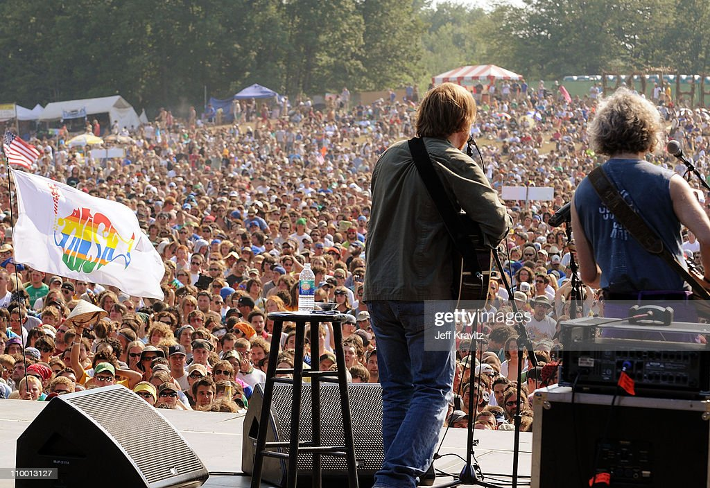 Trey Anastasio and Mike Gordon perform on the Odeum Stage during the Rothbury Music Festival 08 on July 6, 2008 in Rothbury, Michigan.