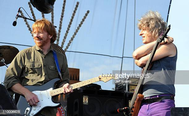 Trey Anastasio and Mike Gordon perform on the Ranch Sherwood Court Stage during the Rothbury Music Festival 08 on July 6 2008 in Rothbury Michigan