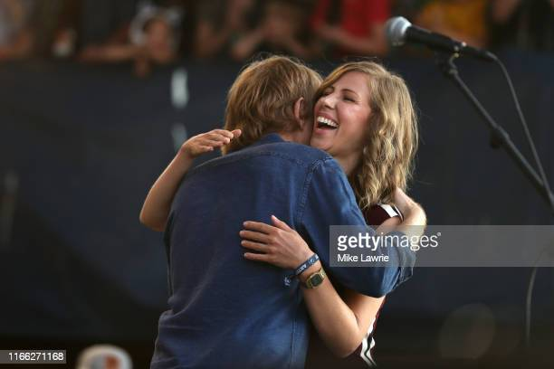 """Trey Anastasio and Rachael Price of Lake Street Dive perform during the """"If I Had A Song"""" tribute set during day three of the 2019 Newport Folk..."""