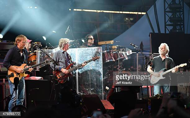 Trey Anastasio Bill Kreutzmann Phil Lesh Mickey Hart and Bob Weir of the Grateful Dead perform at Soldier Field on July 3 2015 in Chicago Illinois