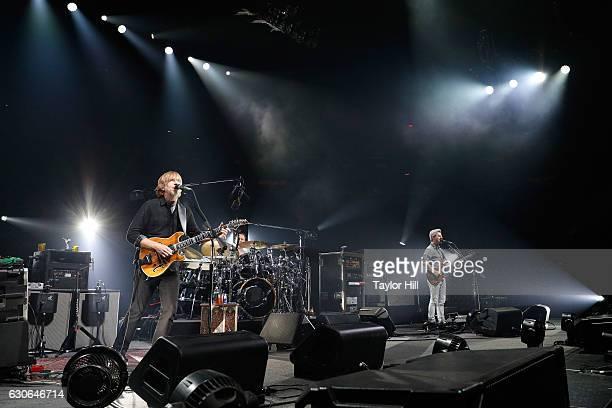 Trey Anastasio Jonathan Fishman and Mike Gordon of Phish perform at Madison Square Garden on December 28 2016 in New York City