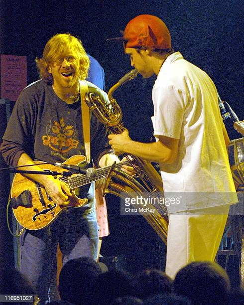 Trey Anastasio of Phish and Skerik during Les Claypool in Concert at Variety Playhouse in Atlanta July 11 2005 at Variety Playhouse in Atlanta...