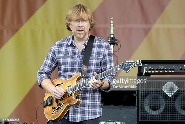 Trey Anastasio of Phish performs during the 2014 New Orleans Jazz Heritage Festival Day 2 at Fair Grounds Race Course on April 26 2014 in New Orleans...