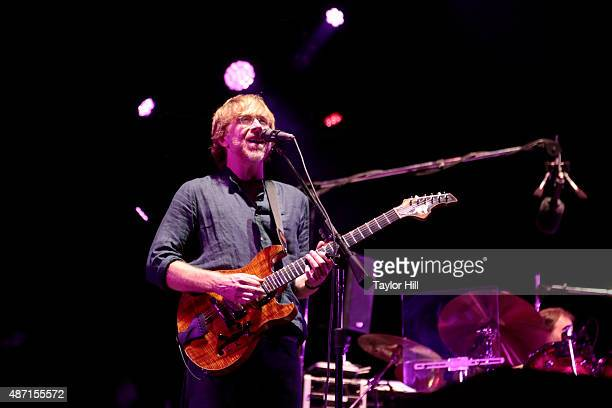 Trey Anastasio of Phish performs during their sold-out three-night end to their 2015 Summer Tour at Dick's Sporting Goods Park on September 4, 2015...