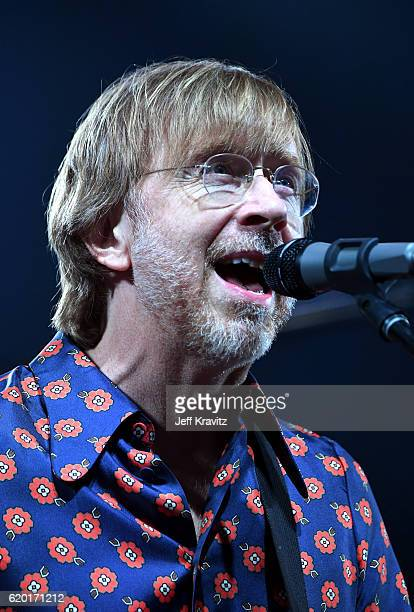 Trey Anastasio of Phish performs on stage at the MGM Grand Garden Arena on October 31 2016 in Las Vegas NV