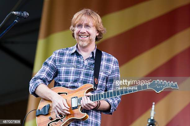 Trey Anastasio of Phish performs onstage during the 2014 New Orleans Jazz Heritage Festival at Fair Grounds Race Course on April 26 2014 in New...