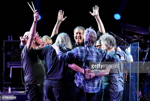 Trey Anastasio Phil Lesh Bill Kreutzmann Bob Weir Mickey Hart Jeff Chimenti and Bruce Hornsby of The Grateful Dead perform during the Fare Thee Well...
