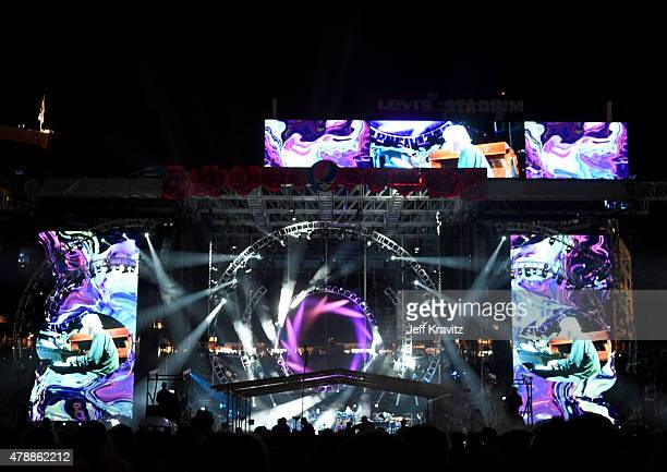 Trey Anastasio Phil Lesh Bob Weir Bill Kreutzman Mickey Hart Bruce Hornsby and Jeff Chimenti of the Grateful Dead performs on Fare Thee Well...