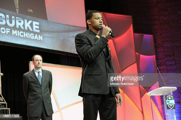 Trey Burke of the Michigan Wolverines accepts the Naismith Men's College Basketball Player of the Year during the NABC Guardians of the Game Awarding...