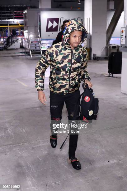 Trey Burke of the New York Knicks arrives to the arena prior to the game against the Brooklyn Nets on January 15 2018 at Barclays Center in Brooklyn...