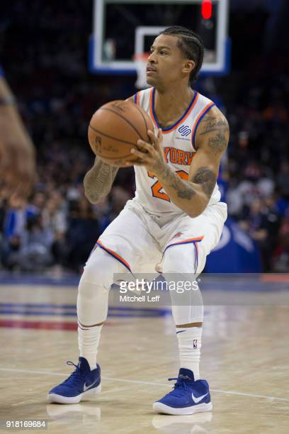 Trey Burke of the New York Knicks controls the ball against the Philadelphia 76ers at the Wells Fargo Center on February 12 2018 in Philadelphia...