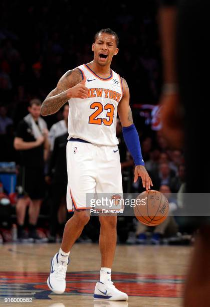 Trey Burke of the New York Knicks directs the team as he moves the ball upcourt in an NBA basketball game against the Milwaukee Bucks on February 6...