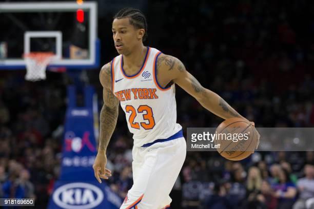 Trey Burke of the New York Knicks dribbles the ball against the Philadelphia 76ers at the Wells Fargo Center on February 12 2018 in Philadelphia...