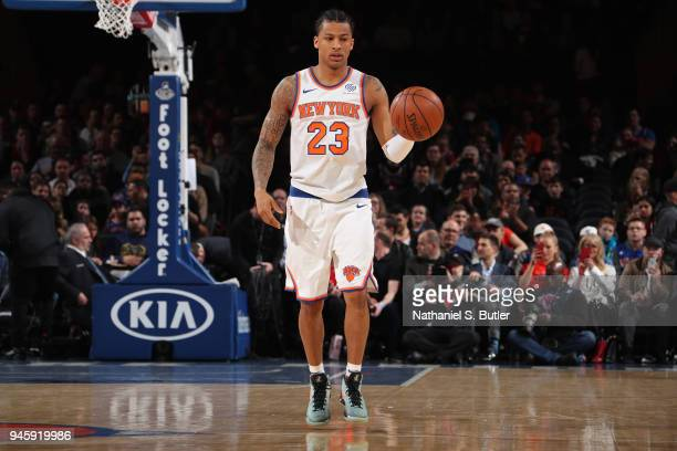 Trey Burke of the New York Knicks dribbles the ball upcourt during the game against the Miami Heat on April 6 2018 at Madison Square Garden in New...