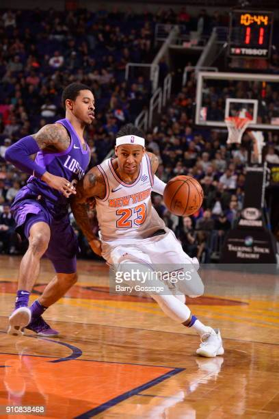 Trey Burke of the New York Knicks drives to the basket during the game against the Phoenix Suns on January 26 2018 at Talking Stick Resort Arena in...
