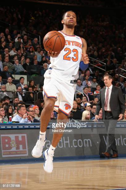 Trey Burke of the New York Knicks drives to the basket during the game against the Milwaukee Bucks on February 6 2018 at Madison Square Garden in New...