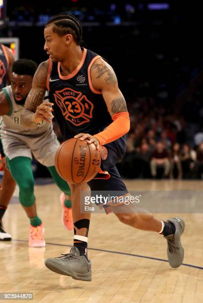 Trey Burke of the New York Knicks drives to the net against the Boston Celtics at Madison Square Garden on February 242018 in New York City NOTE TO...