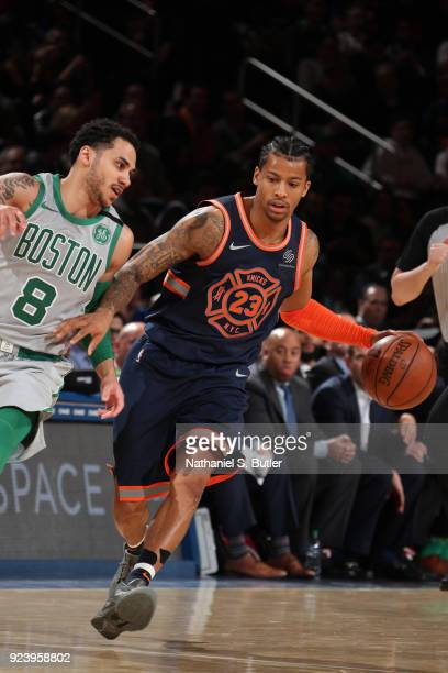 Trey Burke of the New York Knicks handles the ball against the Boston Celtics on February 24 2018 at Madison Square Garden in New York New York NOTE...
