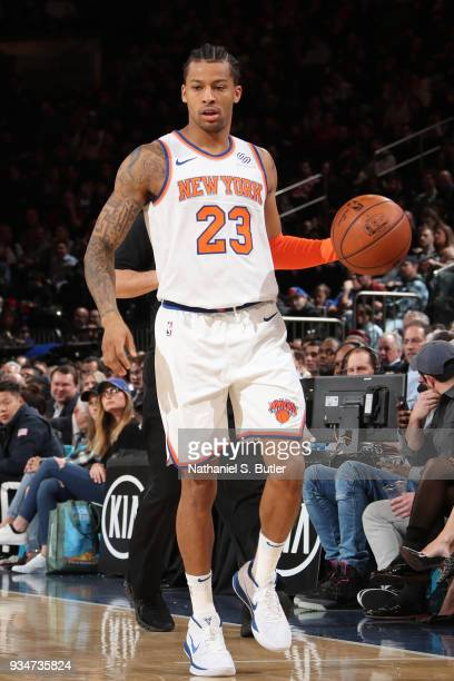Trey Burke of the New York Knicks handles the ball against the Chicago Bulls on March 19 2018 at Madison Square Garden in New York City New York NOTE...