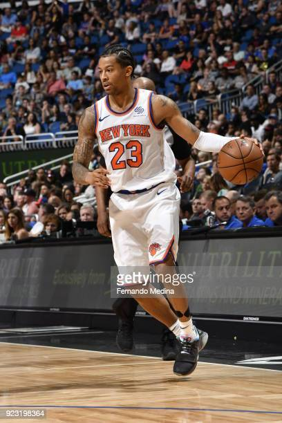 Trey Burke of the New York Knicks handles the ball against the Orlando Magic on February 22 2018 at Amway Center in Orlando Florida NOTE TO USER User...