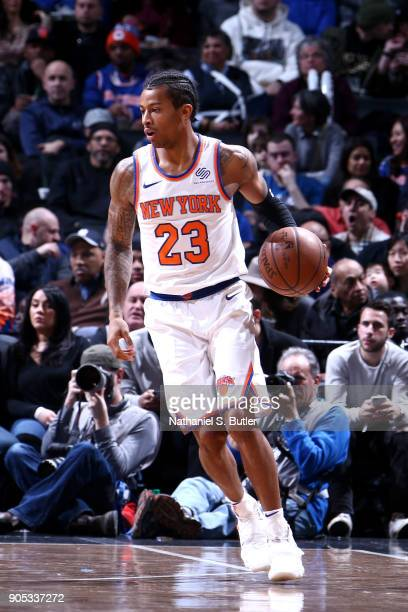 Trey Burke of the New York Knicks handles the ball against the Brooklyn Nets on January 15 2018 at Barclays Center in Brooklyn New York NOTE TO USER...