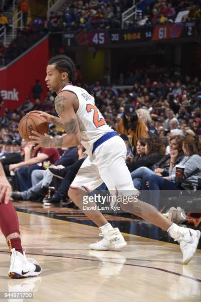 Trey Burke of the New York Knicks handles the ball against the Cleveland Cavaliers on April 11 2018 at Quicken Loans Arena in Cleveland Ohio NOTE TO...