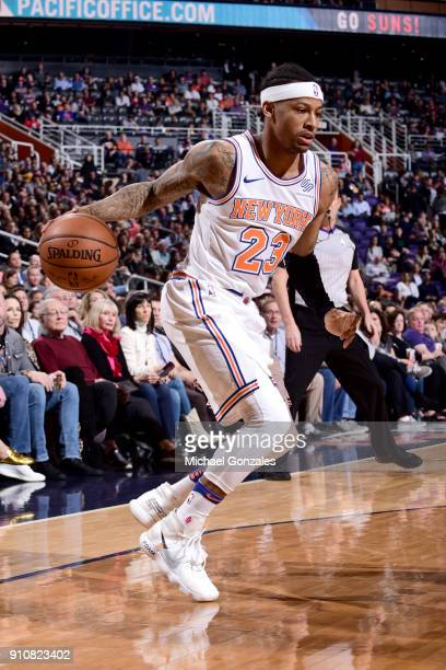 Trey Burke of the New York Knicks handles the ball against the Phoenix Suns on January 26 2018 at Talking Stick Resort Arena in Phoenix Arizona NOTE...