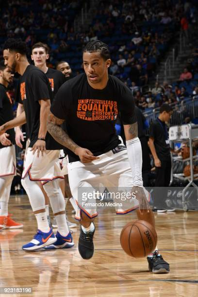 Trey Burke of the New York Knicks handles the ball before the game against the Orlando Magic on February 22 2018 at Amway Center in Orlando Florida...