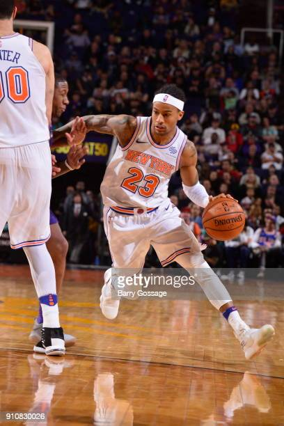 Trey Burke of the New York Knicks handles the ball during the game against the Phoenix Suns on January 26 2018 at Talking Stick Resort Arena in...