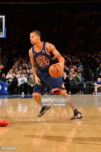 Trey Burke of the New York Knicks handles the ball during the game against the Atlanta Hawks on February 4 2018 in New York City NY NOTE TO USER User...