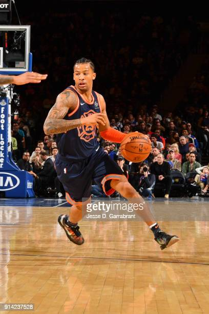 Trey Burke of the New York Knicks handles the ball during the game against the Atlanta Hawks on February 4 2018 in New York City New York at Madison...