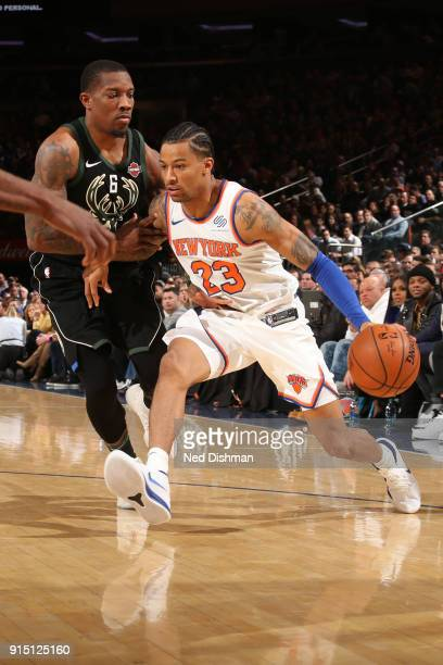 Trey Burke of the New York Knicks handles the ball during the game against the Milwaukee Bucks on February 6 2018 at Madison Square Garden in New...