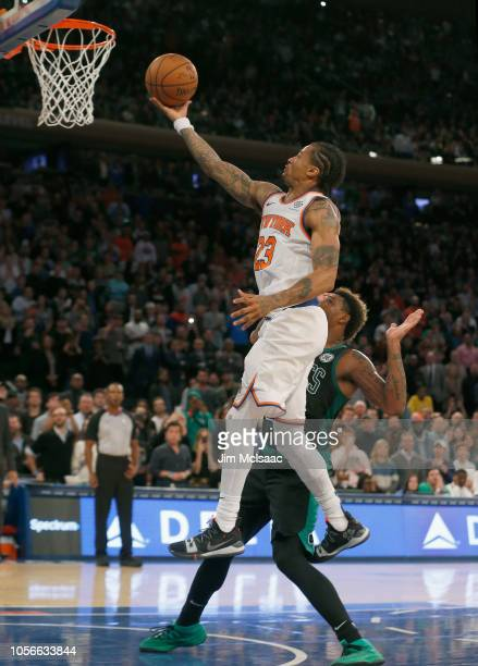 Trey Burke of the New York Knicks in action against the Boston Celtics at Madison Square Garden on October 20 2018 in New York City The Celtics...
