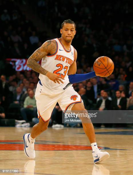 Trey Burke of the New York Knicks in action against the Milwaukee Bucks at Madison Square Garden on February 6 2018 in New York City The Bucks...