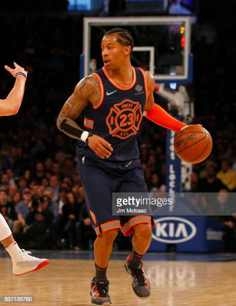 Trey Burke of the New York Knicks in action against the Toronto Raptors at Madison Square Garden on March 11 2018 in New York City The Raptors...