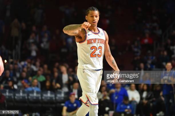 Trey Burke of the New York Knicks looks on against the Philadelphia 76ers at Wells Fargo Center on February 12 2018 in Philadelphia Pennsylvania NOTE...