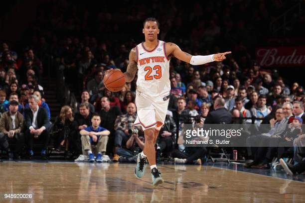 Trey Burke of the New York Knicks moves up court during the game against the Miami Heat on April 6 2018 at Madison Square Garden in New York City New...