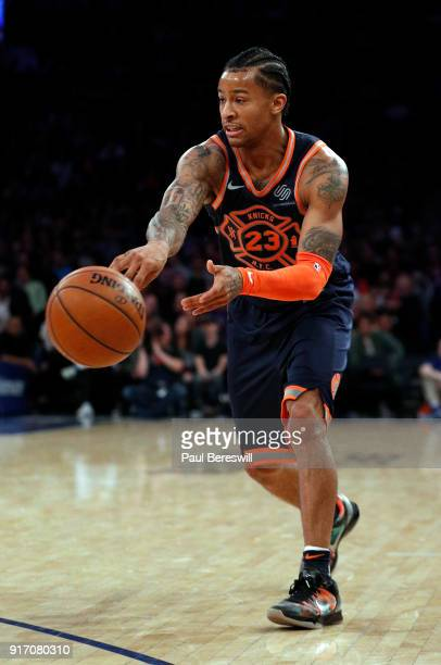 Trey Burke of the New York Knicks passes in an NBA basketball game against the Atlanta Hawks on February 4 2018 at Madison Square Garden Center in...