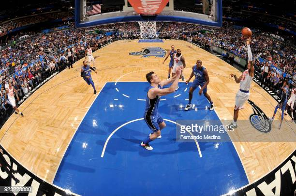 Trey Burke of the New York Knicks shoots the ball against the Orlando Magic on February 22 2018 at Amway Center in Orlando Florida NOTE TO USER User...