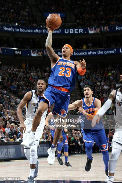 Trey Burke of the New York Knicks shoots the ball against the Utah Jazz on January 19 2018 at vivintSmartHome Arena in Salt Lake City Utah NOTE TO...