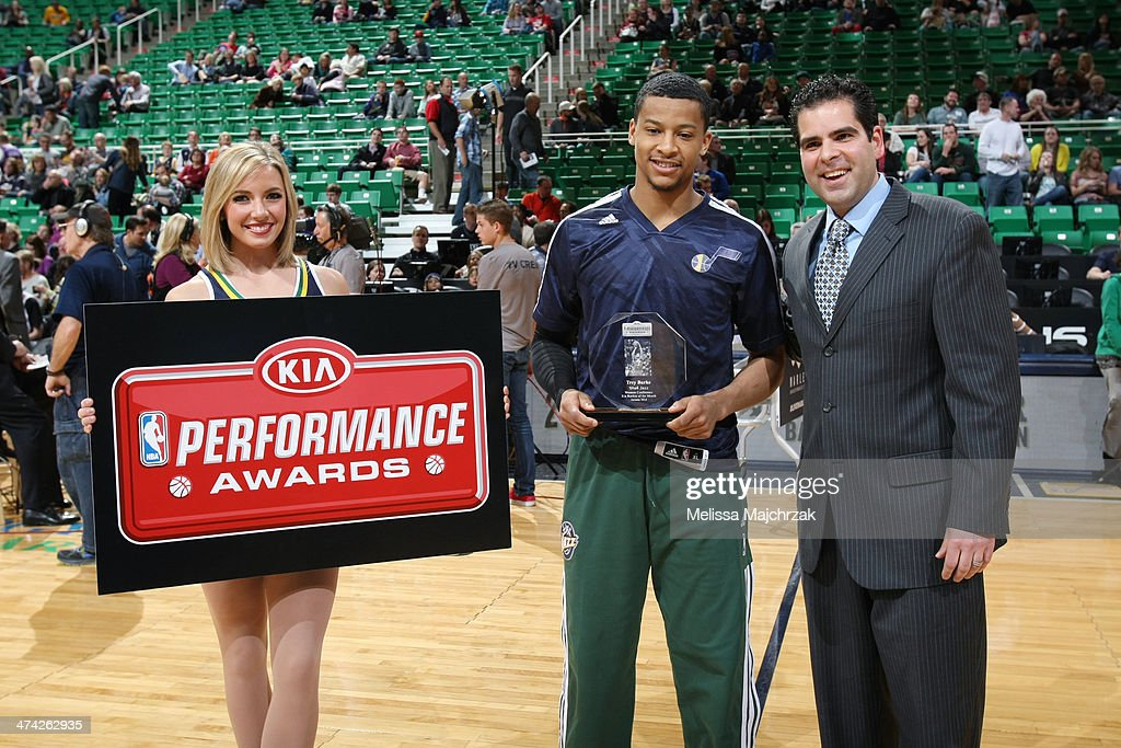 Trey Burke #3 of the Utah Jazz accepts his January Kia Performance Award before his matchup against the Minnesota Timberwolves at EnergySolutions Arena on February 22, 2014 in Salt Lake City, Utah.