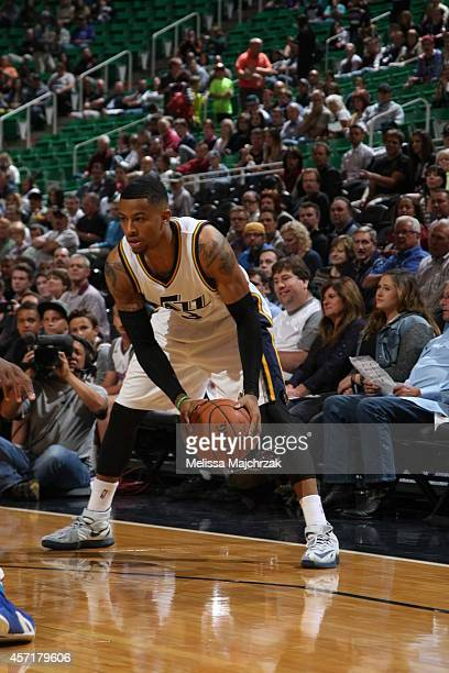 Trey Burke of the Utah Jazz handles the ball against the Los Angeles Clippers during a game at EnergySolutions Arena on October 13 2014 in Salt Lake...