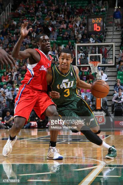 Trey Burke of the Utah Jazz handles the ball against the Los Angeles Clippers at EnergySolutions Arena on March 14 2014 in Salt Lake City Utah NOTE...