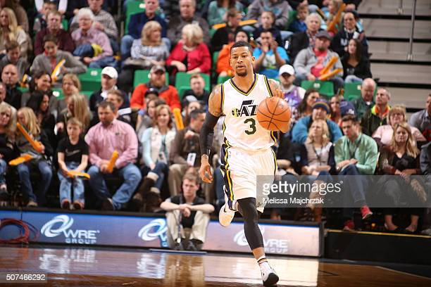 Trey Burke of the Utah Jazz handles the ball against the Minnesota Timberwolves on January 29 2016 at vivintSmartHome Arena in Salt Lake City Utah...